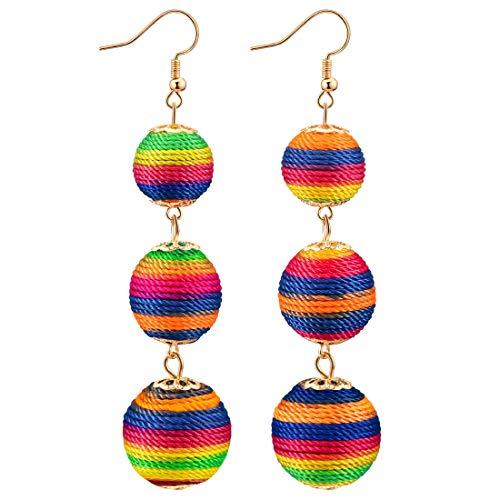 (CAT EYE JEWELS Ball Dangle Earrings Thread Wrapped Triple Lantern Balls Dangle Tassel Earrings E028)