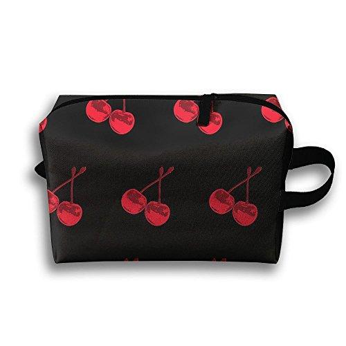 Red Cherry Pattern Travel Bag Cosmetic Bags Brush Pouch Portable Makeup Bag Zipper Wallet Hangbag Pen Organizer Carry Case Wristlet Holder