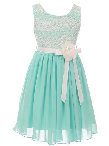 Collection Bridesmaid Dress - BluNight Collection Big Girls Elegant Round Neck Chiffon Summer Wedding Birthday Party Flower Girl Dress Mint 8 (2J1K38S)