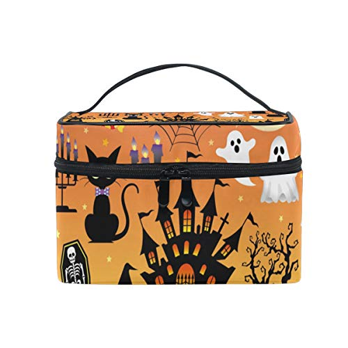 OREZI Appy Halloween Graphic Elements Cosmetic Bag Large Multifunction Makeup Travel Toiletry Travel Kit Organizer Case with Quality Zipper Portable for Makeup Bag for Women