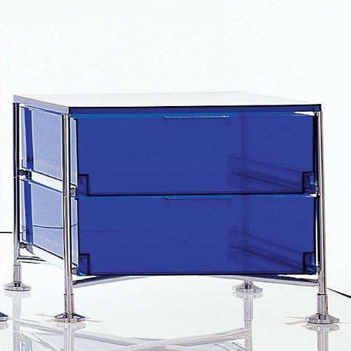 Kartell Mobil 2 mit Füßen, kobaltblau halbtransparent Gestell chrom