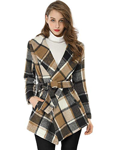 Allegra K Women's Asymmetric Hem Plaids Wrap Coat XS Brown (Tartan Hooded Down Coat)