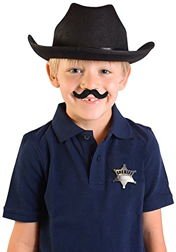 Custom Sheriff Badge Costumes (Child's Black Country Cow Boy Cowboy Hat With Mustache And Badge Accessory Kit)