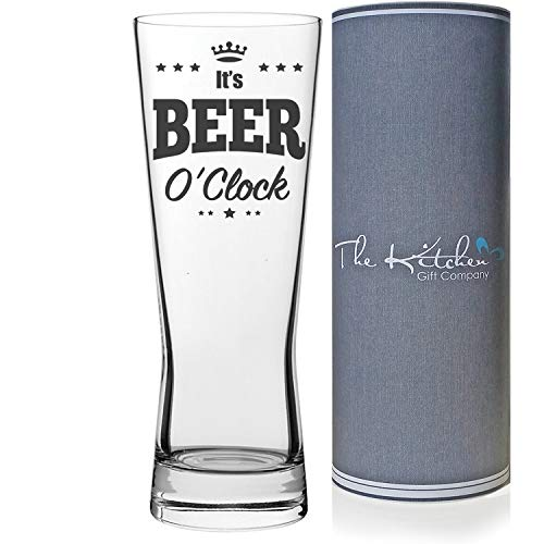 It's Beer O'Clock Pint Glass, Fun Beer Glass Gift Set for Beer O'Clock Perfect Gift for Men, Fathers Day & Christmas