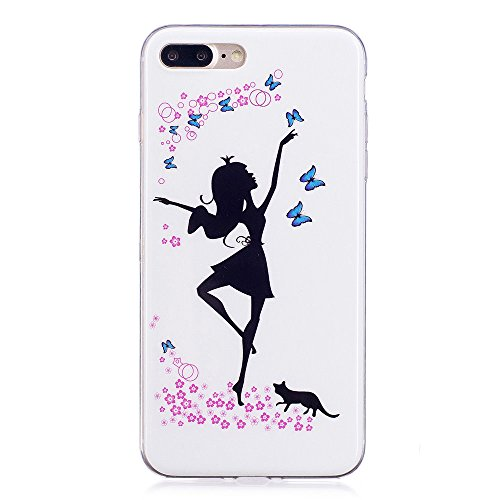 Custodia iPhone 7 Plus / iPhone 8 Plus , LH Danza Ragazza Fluorescenza TPU Silicone Cristallo Morbido Case Cover Custodie per Apple iPhone 7 Plus / iPhone 8 Plus 5.5