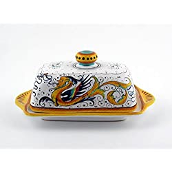 Hand Painted Italian Ceramic Butter Dish with Lid Raffaellesco - Handmade in Deruta