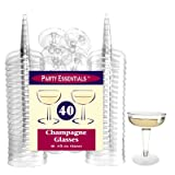 Party Essentials Hard Plastic Two Piece 4-Ounce Champagne Glasses, 40-Count, Clear