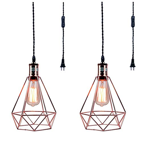 Gold Diamond Chandelier - 2 Pcs Vintage Wire Cage Pendant Light, MKLOT Industrial Metal Lamp Guard Plug in Ceiling Chandelier Lighting Fixture with Diamond Shape for Home Kitchen,Rose Gold