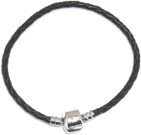 b375d3b2b Jewelry Monster Real Black Leather Charm Bracelet w/ Barrel Clasp Size 8.7  Inches or 22cm