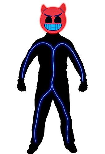 Stickman Halloween Costume (GlowCity Light Up Super Bright Devil Emoji Stick Figure Costume For Parties, Blue - Small)