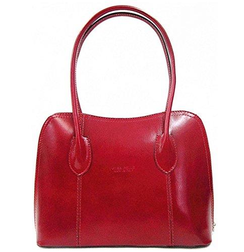 Leather Shoulder Ladies Italian Classic Tote Vera Bag Pelle Red Handbag naSCqwUBn