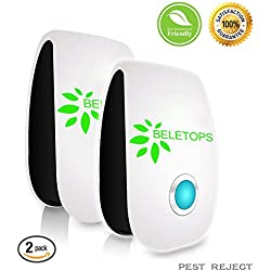 Pest Control Ultrasonic Repellent Pack of 2 Electronic Plug in Control Repeller Indoors Repels Mice Rats Roaches Spiders and Other Insects Human and Pets Safe Non-toxic Environment-friendly