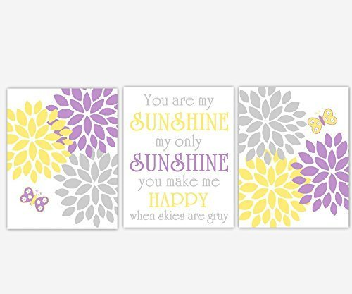 Baby Girl Nursery Artwork Purple Yellow Butterfly Flower Burst Dahlia Mums You Are My Sunshine Toddler Baby Nursery Decor SET OF 3 UNFRAMED PRINTS (Burst Design Purple)