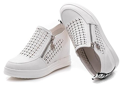 Chfso Kvinna Bekväm Rund Tå Urholka Dragkedja Charm Mitten Kilklack Mode Sneakers Vita