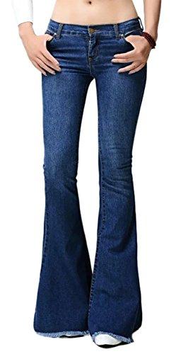 Chartou Women's Asymmetric Tassel Flared Slit Ripped Jeans Denim Pants (Large, Navy Blue)