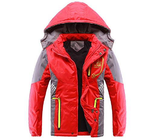 (Valentina Latest Boys Thicken Fleece Hooded Jacket Warm Quilted Coat Outdoor Cool Cute Fashion for Winter Autumn Spring (Red, 10 - Height 52