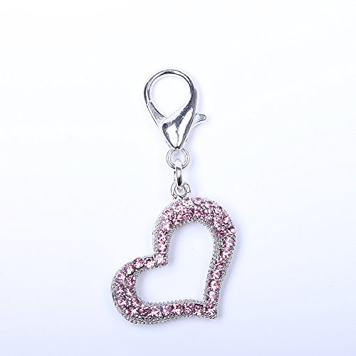 SKS PET TM Bling Heart Rhinestones Charm Pendant Jewelry For Pet Dog Cat Necklace Collar Accessory (Pink) ()