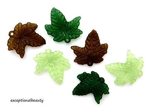 - 100 Assorted 20x3mm Frosted Green Olive Leaf Leaves Lucite Bead Drop Charms