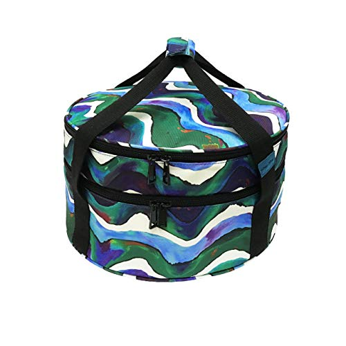 Insulated Casserole Carrier (Round), Potluck Dish Carrier, Large Thermal Carrying Case for Picnic, Cold & Hot Food, Lunch, Dessert, Cake and Pie Carrier (Double Decker)