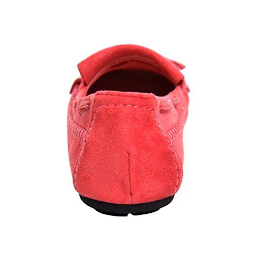 Cher Temps Mocassins Tassel Daim Femmes Plat Mocassins Chaussures Rouge
