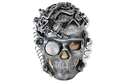 90s Horror Costumes (TFJ Men Skeleton Skull Halloween Face Hannibal Mask S&m Costume Scary Robot Goggles Pirate Apocalyptic Warrior Cyborg)