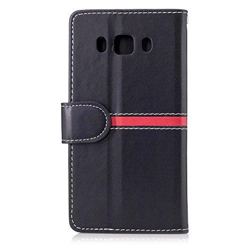 Carcasas y fundas Móviles, Para Samsung Galaxy J5 2016 J510, diseño de cierre magnético de la PU del remiendo de la carpeta de cuero del tirón de la caja protectora con la ranura del soporte / de la t Black