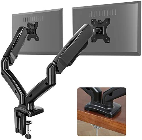 Eono by Amazon Dual Monitor Monitor Arm Gas Powered Height Adjustable 13-27 Inch Screens