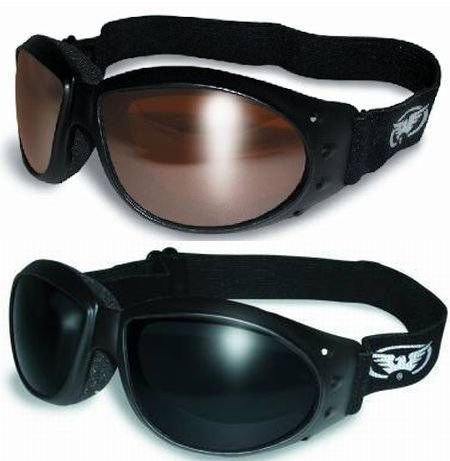 ((2 GOGGLES) Motorcycle ATV Riding Driving Mirror and Super Dark Glasses Sunglasses Burning Man plus storage bags)