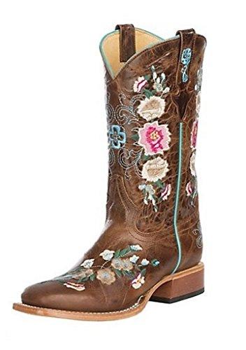 MK9012 Rose Boots Garden Floral Honey Bean Girl Bunch Cowboy Macie Western Leather wgnq04THzx