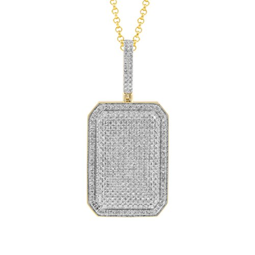 1.85ct Diamond Rectangular Dome Pillow Mens Hip Hop Pendant Necklace in 10kt Yellow Gold (H-I, I1-I2) by Isha Luxe-Hip Hop Bling