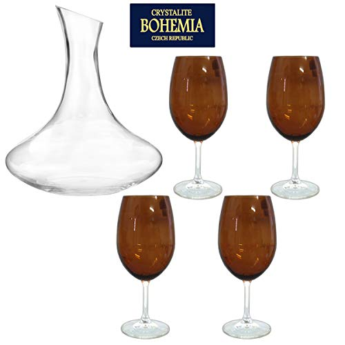 Decanter Vidro 1,5 L + 4 Taças Cristal Âmbar 600ml Bohemia