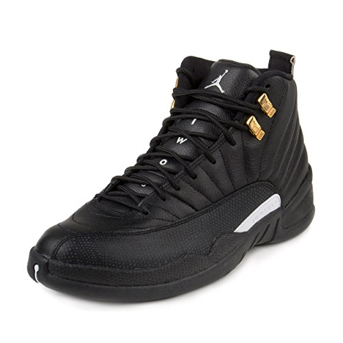 Nike Mens Air Jordan 12 Retro Black/White-Metallic Gold Leather