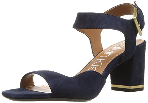 Calvin Klein Women's Chantay Heeled Sandal, Dark Navy, 9.5 Medium US (Calvin Suede Heels)
