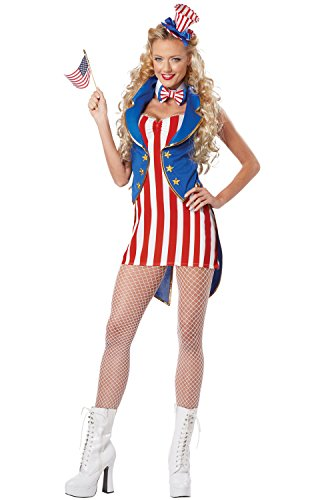 California Costumes Women's Miss Independence Adult, Red/Blue/White, Large ()