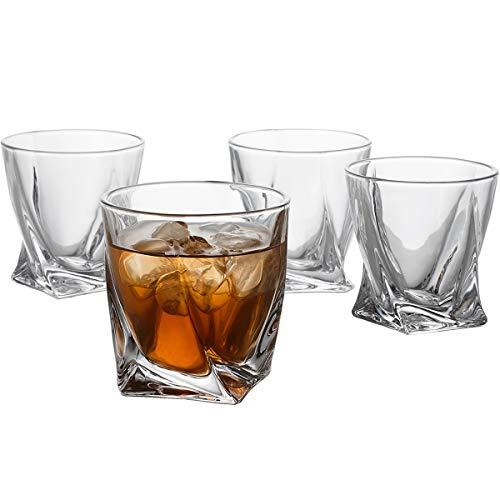 GoodGlassware Swirl Whiskey Glasses (Set of 4) 10 oz – Premium Glass Tumblers with Heavy Base and Unique Swirl Design…