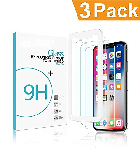 GVTECH (3 Packs) Screen Protector Designed for Apple iPhone Xs & iPhone X 2018 2017 Premium HD Clarity 0.33mm Tempered Glass Screen Protector with Alignment Case Frame [3D Touch] (3-Pack)
