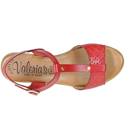 VALERIAS - Sandalia Vaquetilla Plataforma Y Tacón De 6Cm - Modelo 3020 Rojo