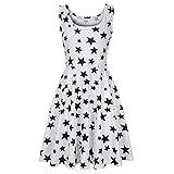 Kiasebu Women's New Sleeveless Star Print A line Waistline Midi Dress Casual Flared Tank Dress