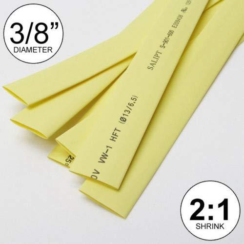 3/8'', ID Yellow Heat Shrink Tube 2:1 Ratio wrap (5x24'', 10 ft) inch/feet/to 10mm
