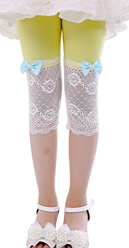 SportsWell Girls Lace Bowknot Leggings Tight Summer Cute Cropped Capris Pants Yellow(US M(5),Tag 120cm)