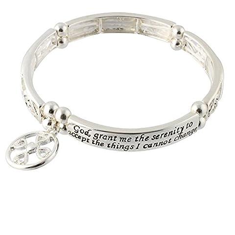 Serenity Prayer - Grant Me the Serenity - Christian Fish Cross Charm Stretch Bracelet - Cross Prayer Box Charm