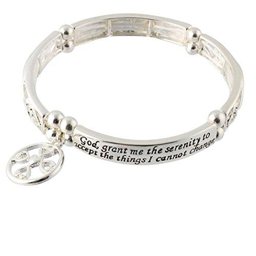 Serenity Prayer - Grant Me the Serenity - Christian Fish Cross Charm Stretch Bracelet