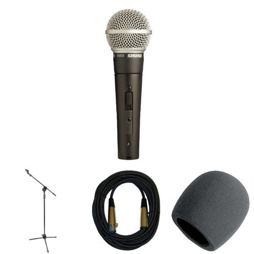 Microfono Shure SM58S  Bundle with Stand, Cable, and Wind...
