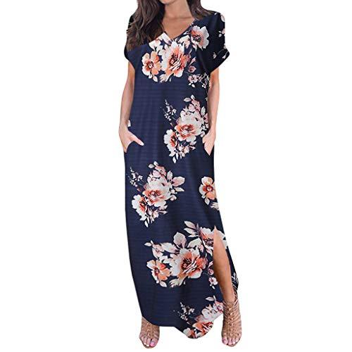 Goddessvan 2019 Hot Women's Loose Casual Pocket Long Dress Scoop Neck Split Beach Maxi Dresses Navy