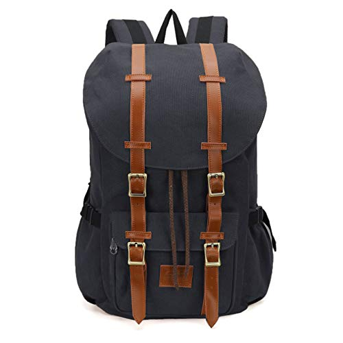 ONEB Casual Laptop Canvas Backpack Unisex Vintage Leather School Bags Large Capacity Hiking Travel Rucksack Business Daypack (19 inches Black) by ONEB