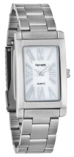 Ferretti Women's | Classic Silver-Tone Stainless Steel Bracelet Rectangular Easy Reader Mother of Pearl Watch | FT10902