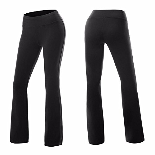 COLO Women's High Waist Yoga Flare Bootleg Pant Workout Fitted Athletic Bootcut Pants Black(XL)