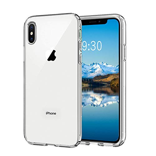 Meidom iPhone Xs Max Case Crystal Clear Slim Fit with Silicone Bumper and Tempered Glass Back Double Protection Phone Case for iPhone Xs Max (6.5 inch) - Clear