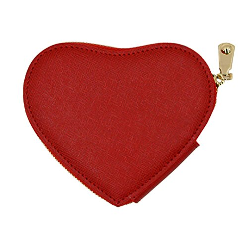 LABANCA Womens Girls Leather Pouch Key Bag Heart Shaped Coin Purse Bag Red