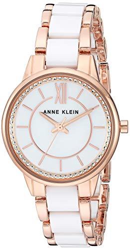 Anne Klein Women's AK/3344WTRG Swarovski Crystal Accented Rose Gold-Tone and White Ceramic Bracelet Watch